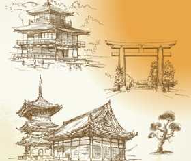 Hand drawn old town vector material set 03