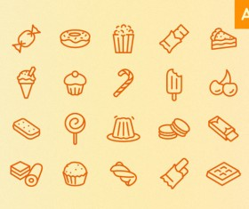 Hand drawn sweets and desserts icons vector