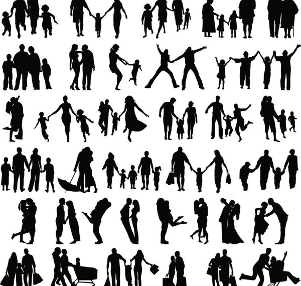 Silhouette People Family Happy family vector silhouette - vector ...