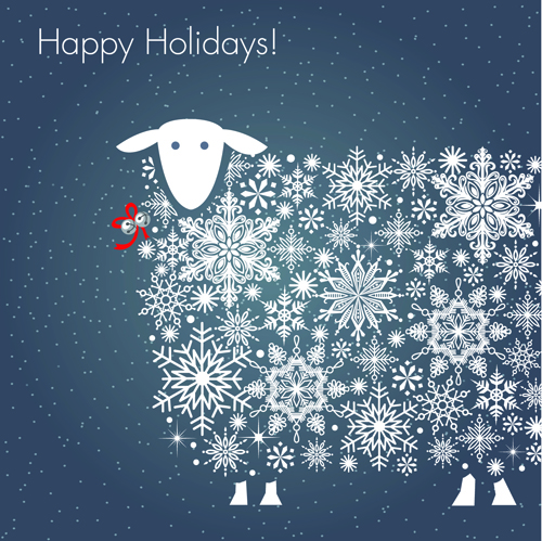 Happy Holiday Sheep Background Vector 01 Free Download