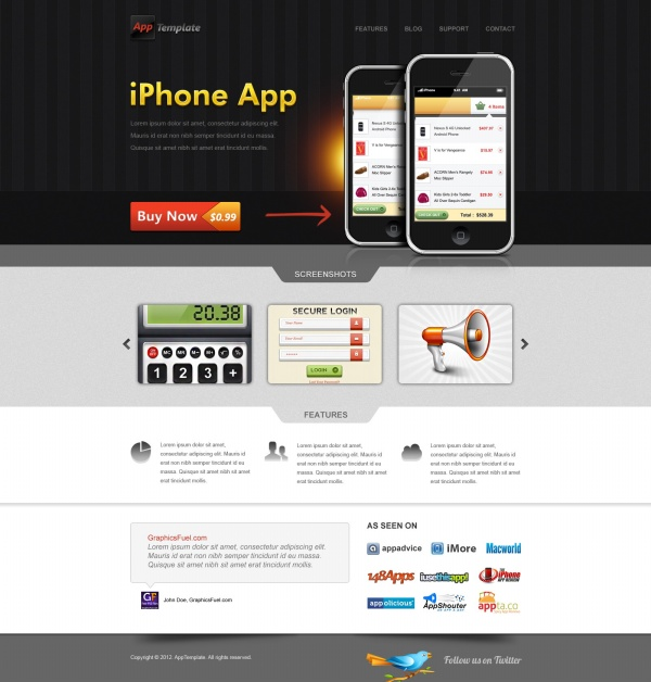 Iphone app website psd template over millions vectors for Designing an app for iphone