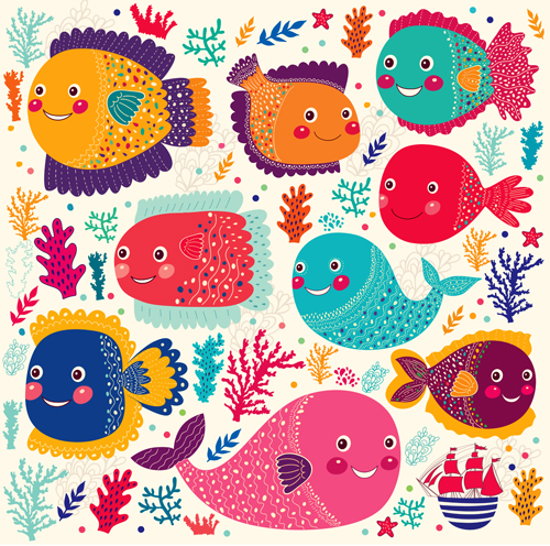 Marine elements and fish floral background vector 01