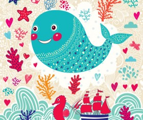 Marine elements and fish floral background vector 02