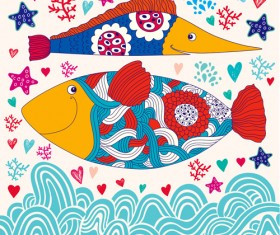 Marine elements and fish floral background vector 03