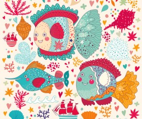 Marine elements and fish floral background vector 05