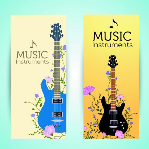 Music Instruments vector banner graphics 01