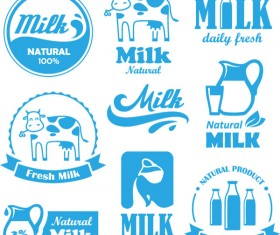 Natural milk blue labels with logos vector