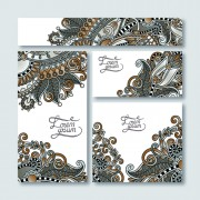 Link toOrnament floral pattern cards vector material 05