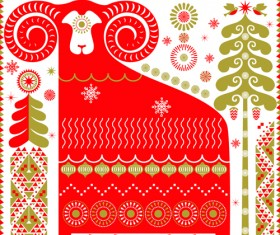 Ornament pattern with sheep vector material
