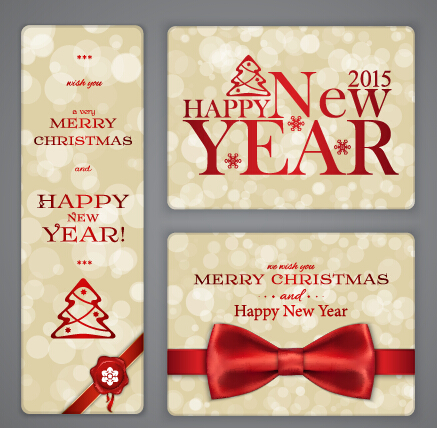 Ornate 2015 christmas with new year cards vector