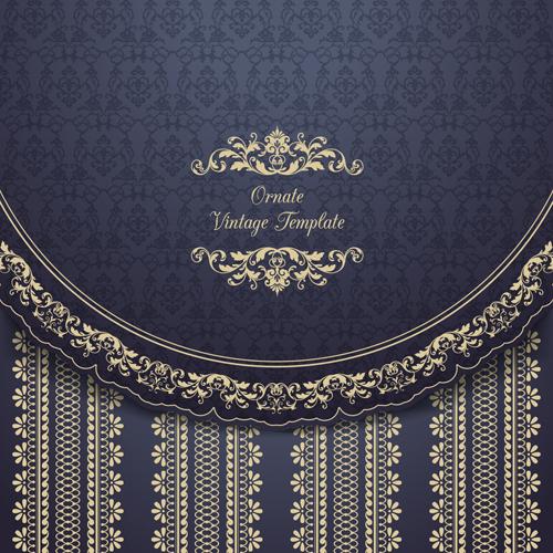 Ornate vintage floral art backgrounds vector 06