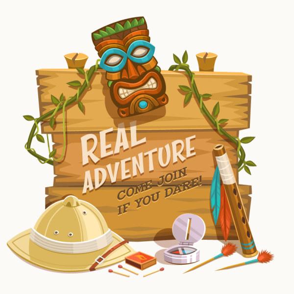 Outdoor adventure wooden board background