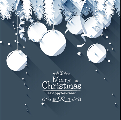 Paper snowflake and baubles christmas background 01