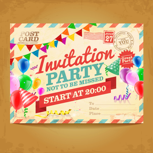 Party invitation postcards vector material 03 free download party invitation postcards vector material 03 stopboris Images