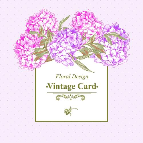 Pink Floral Vintage Card Vector 03