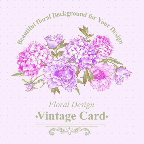 Pink floral vintage card vector 04 - Vector Card free download