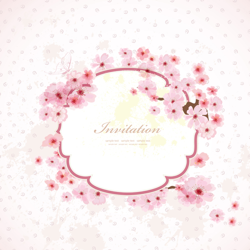 Pink flower frame wedding invitation cards vector 01 vector card pink flower frame wedding invitation cards vector 01 stopboris Images