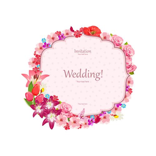 Pink Flower Frame Wedding Invitation Cards Vector 02