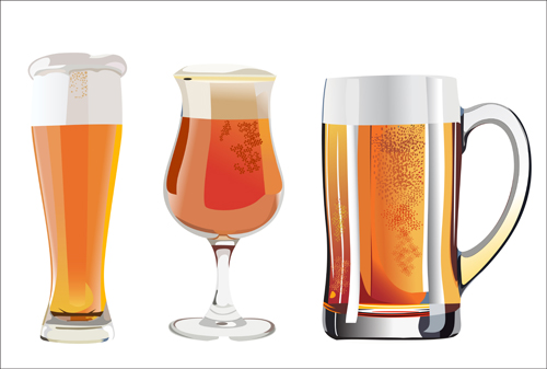 Realistic beer and cups vector material 02