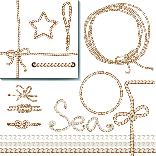 Realistic rope border and frame vector 03