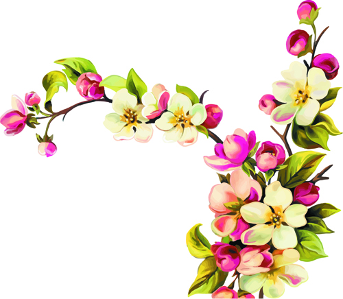 Realistic Small Flowers Vector Design Free Download