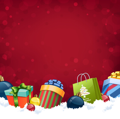 Red background with christmas gift vector - Vector Background ...