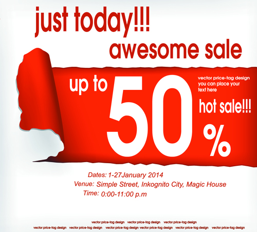 Red style sale discounts background vector 01