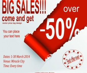Red style sale discounts background vector 02