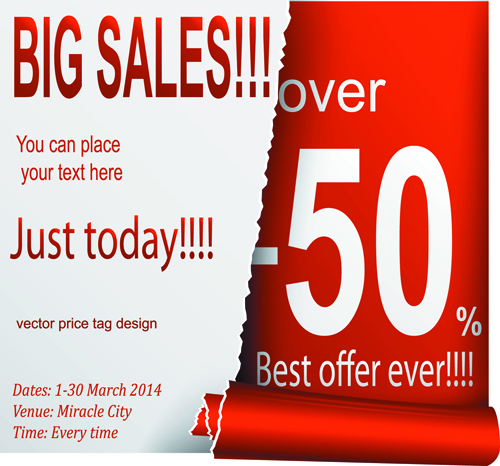 Red style sale discounts background vector 04