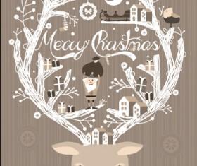 Reindeer with santa claus vector background
