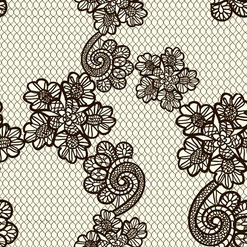 Retro lace ornament pattern seamless vector 02