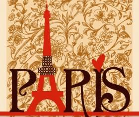 Romantic paris floral background vector