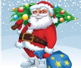 Santa and shiny christmas tree vector