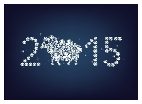 Set of 2015 new year vectors design 05