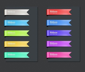 Shiny colored ribbon psd graphics