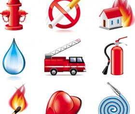 Shiny fire series icons vector material