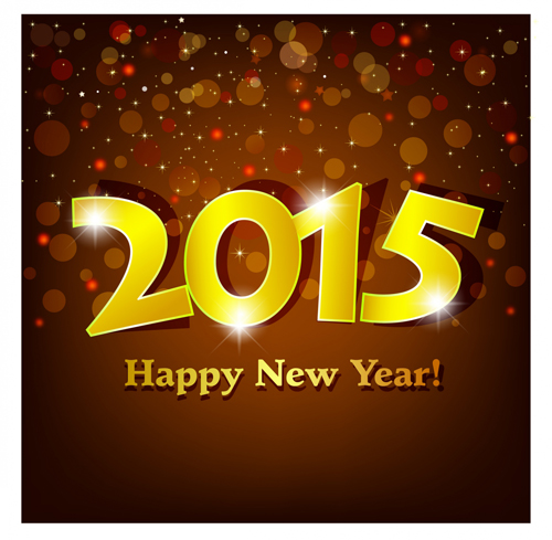 Shiny golden 2015 Happy New Year background - Vector Background free ...