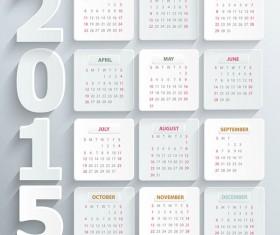 Simple white paper 2015 calendar vector
