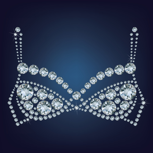 Sparkling diamonds clothing vector set 02
