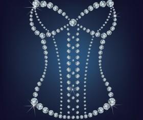 Sparkling diamonds clothing vector set 03