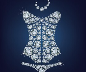 Sparkling diamonds clothing vector set 04