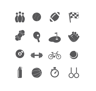 Sports equipment icons vector set