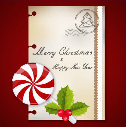 Sweet with christmas postcard vector graphics