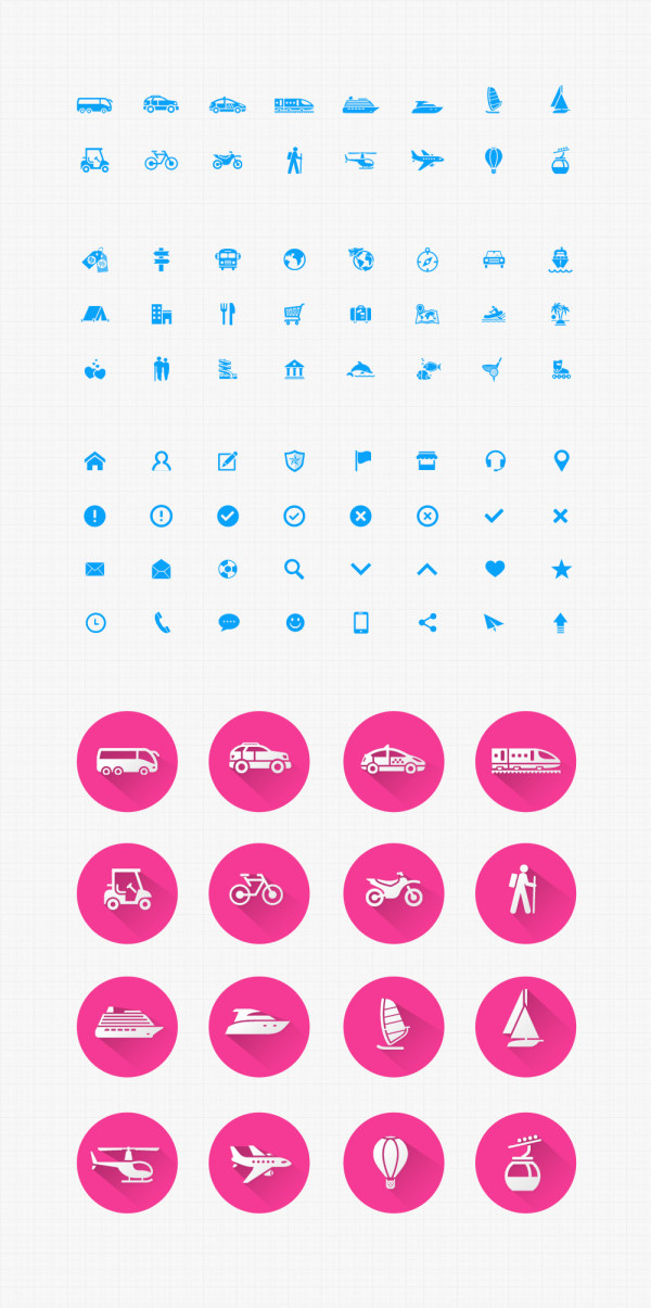 Transport and social psd icons