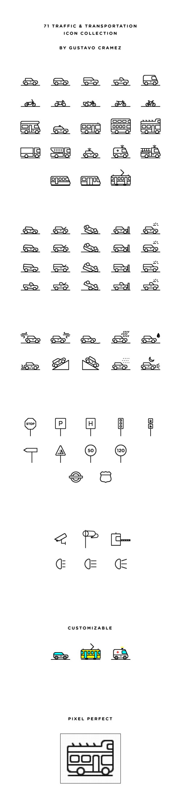 Transportation outline icons material