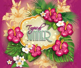 Tropical summer flower frame background vector 02