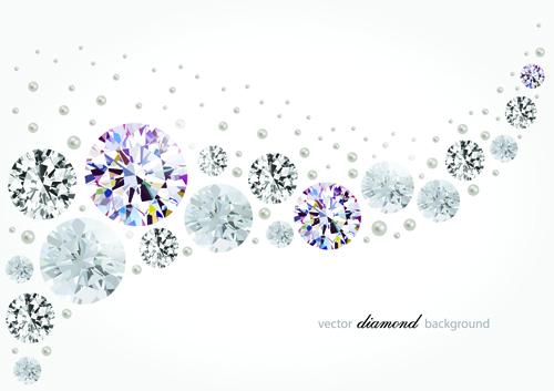 Vector diamonds backgrounds shiny design 02