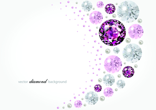 Vector diamonds backgrounds shiny design 03