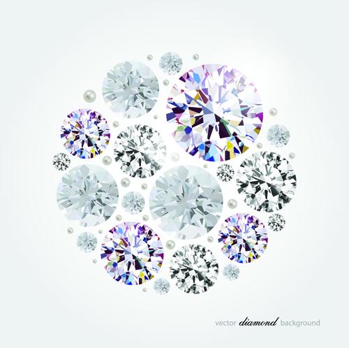 Vector diamonds backgrounds shiny design 04
