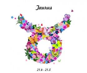 Vector horoscope flower set 07